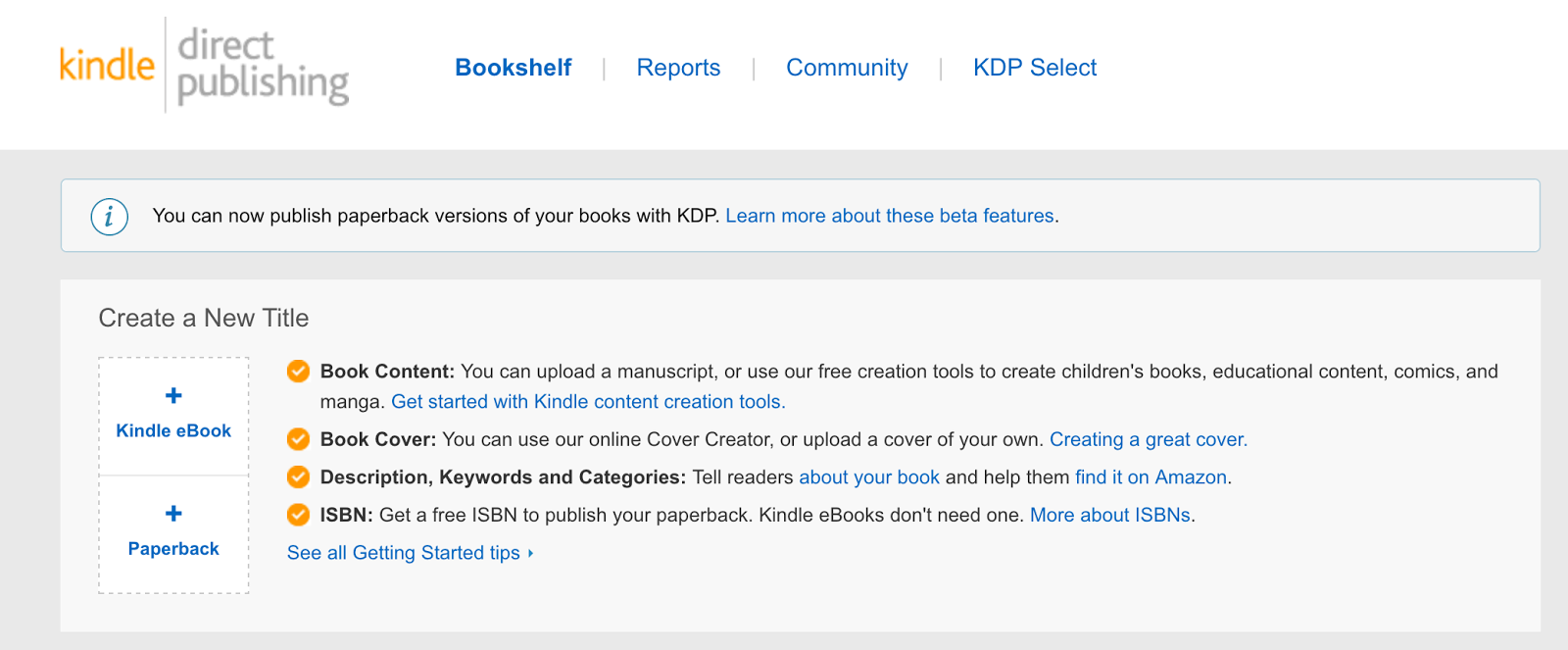 KDP dashboard with a list of books and a + sign to start to create a new one