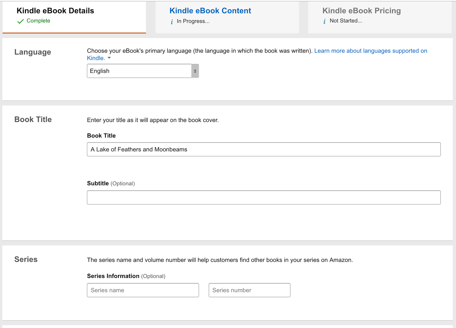 Ebook Details: A language drop down field, book title field, book sub title field, series name and series number fields.