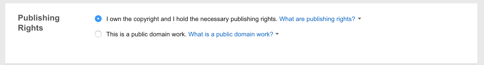 Ebook Details: A radio button input asking to verify that you hold the necessary rights to the works