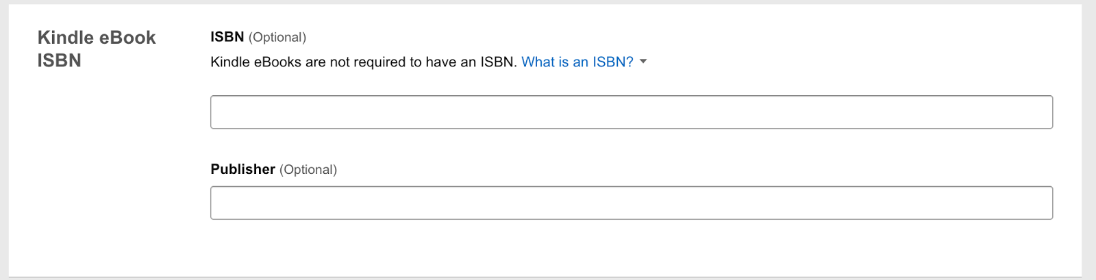 Ebook Content: text fields for ISBN and Publisher